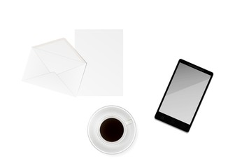 cup of coffee with paper, envelope and phone