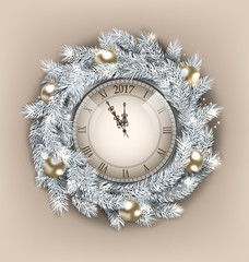 Christmas Wreath with Clock and Golden Balls for Happy New Year 2017