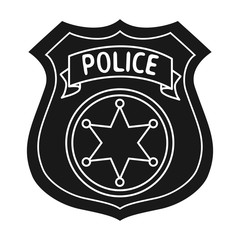 Police officer badge icon in black style isolated on white background. Crime symbol stock vector illustration.