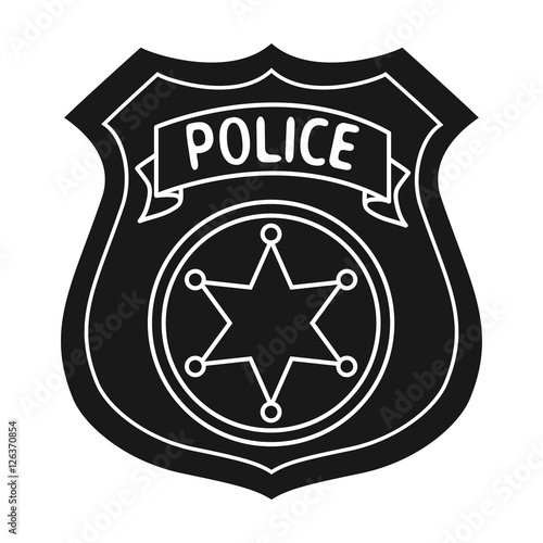quotpolice officer badge icon in black style isolated on