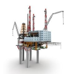 Drilling offshore Platform over white. 3D illustration