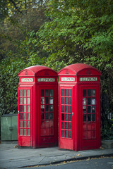 Pair of classic red telephone booths stand under greenery at the edge of a park in London, England, UK