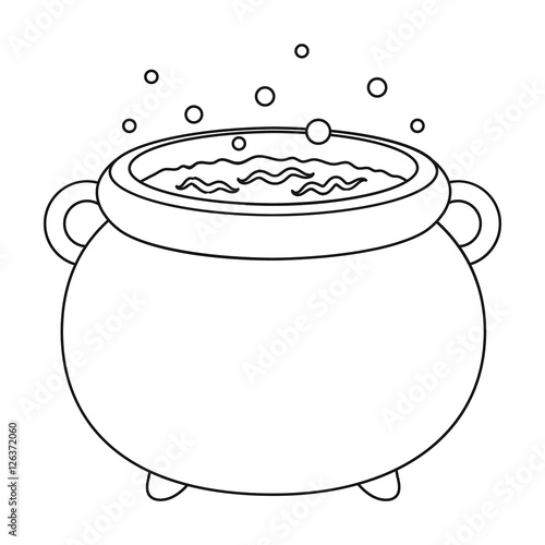Witch S Cauldron Icon In Outline Style Isolated On White Background