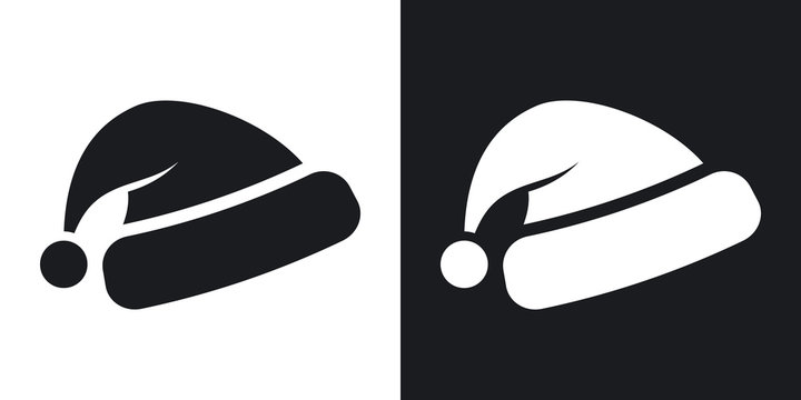 Vector Santa's hat icon. Two-tone version on black and white background