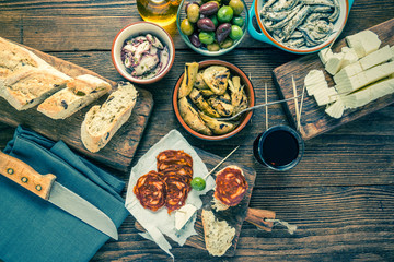 Tapas selection , food sharing