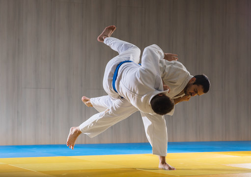 Judo training in the sports hall