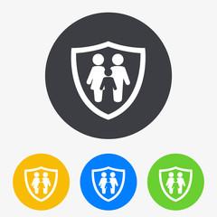 Icono plano familia con escudo en circulo varios colores