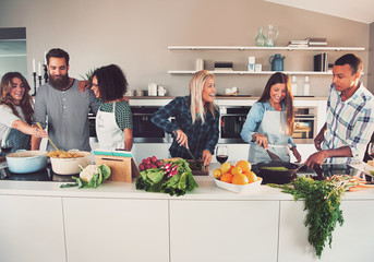 Six mixed Black and Caucasian friends cooking food
