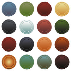 Set of different colored round buttons