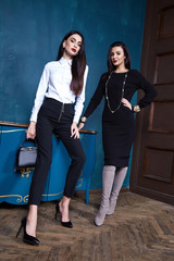 Two beautiful sexy woman wear clothes businesswoman