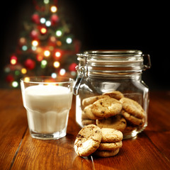 cookies with milk and xmas tree