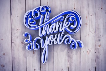 Composite image of digitally generated image of thank you text o