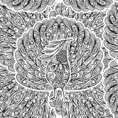 Seamless pattern with peacock. Vintage fantasy bird with ornament. Black and white hand drawn vector illustration.