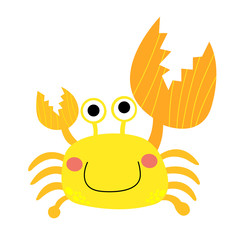 Fiddler Crab animal cartoon character. Isolated on white background. Vector illustration.