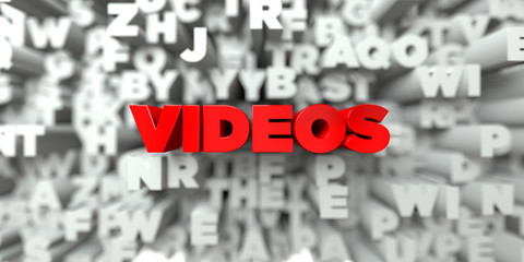 VIDEOS -  Red text on typography background - 3D rendered royalty free stock image. This image can be used for an online website banner ad or a print postcard.