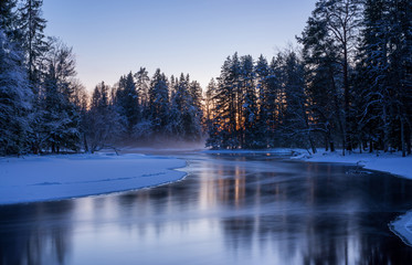 Winter landscape in the river