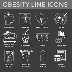 Obesity icons set. Concept of obesity and sedentary lifestyle. Black clean icons set