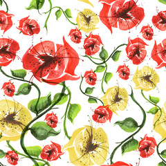 Watercolor seamless pattern with floral pattern. It consists of drawings of plants, buds, stems and leaves. Mostly red, yellow and yellow .