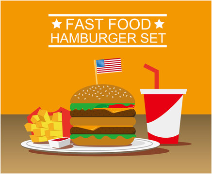 hamburger with french fries and drink