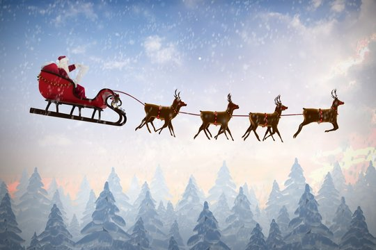 Composite image of side view of santa claus riding on sleigh dur
