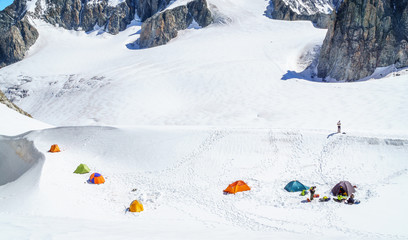Camp on the summit of Mont Blanc