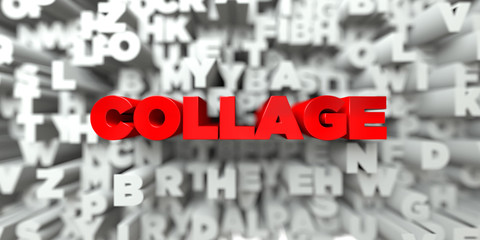 COLLAGE -  Red text on typography background - 3D rendered royalty free stock image. This image can be used for an online website banner ad or a print postcard.