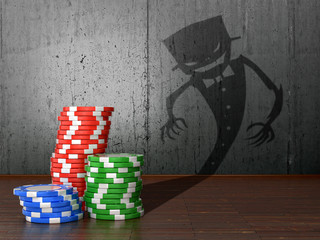 The concept of gambling. Casino chips cast shadows deception.3D