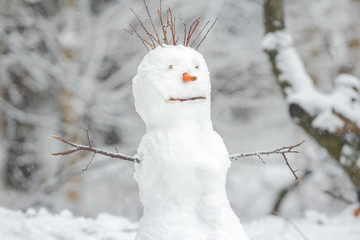 Snowy white snowman with carrot nose in winter Christmas outdoor background