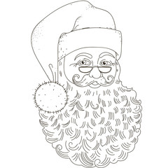 The head of Santa Claus. Isolated black contour on a white background.