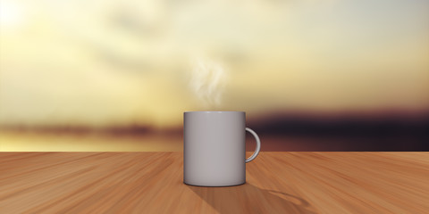 White Coffee Cup, Sunset Background