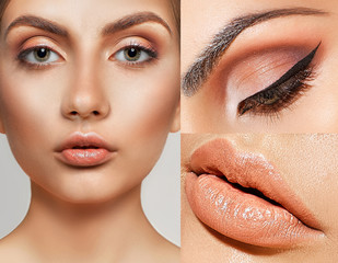 маке-up beauty collage, close-up