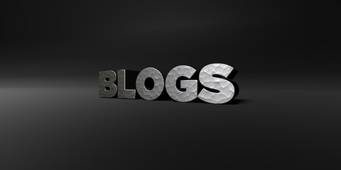 BLOGS - hammered metal finish text on black studio - 3D rendered royalty free stock photo. This image can be used for an online website banner ad or a print postcard.