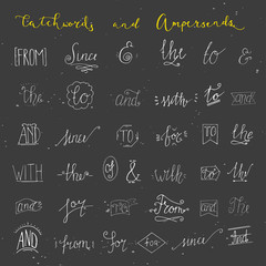Collection of hand sketched ampersands and catchwords for your design. And, with, for, from, since, the, to. Decorative elements. Retro elements with swirls. Hand drawn lettering.