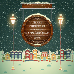 Christmas evening background with houses and greeting inscription on wooden signboard. New year's night. Winter town. Vector card