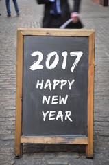 2017 happy new year on outdoor panel