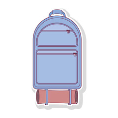 silhouette backpack camping with sleeping bag vector illustration