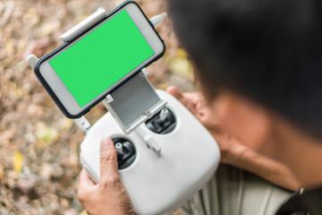 The remote control drone.key green choroma