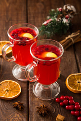 Christmas card. hot spicy Christmas drink of cranberry and spice