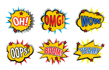 Set comic stickers, retro style. Set comic stickers icons isolated on white background. Set pop art stickers, comic style design element. Vector illustration
