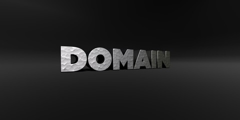 DOMAIN - hammered metal finish text on black studio - 3D rendered royalty free stock photo. This image can be used for an online website banner ad or a print postcard.
