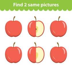 Children's educational game. Find two same pictures. Set of apples, for the game find two same pictures. Vector illustration.