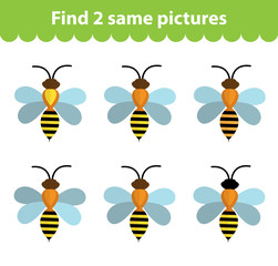 Children's educational game. Find two same pictures. Set of bees, for the game find two same pictures. Vector illustration.