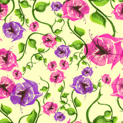 Watercolor Vintage seamless pattern. From vegetable and flower pattern. Pink, purple and violet flowers.
