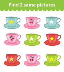 Children's educational game. Find two same pictures. Set of cups, for the game find two same pictures. Vector illustration.