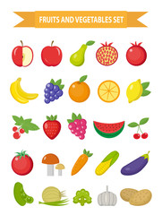 Fruits and vegetables icon set, flat style. Fruits, berries and vegetables set set isolated on a white background. Fruits and vegetables. Vegetarian food. Vector illustration
