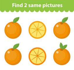 Children's educational game. Find two same pictures. Set of orange, for the game find two same pictures. Vector illustration.