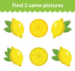 Children's educational game. Find two same pictures. Set of lemon, for the game find two same pictures. Vector illustration.