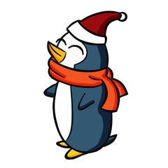 Funny and cute penguin with santa's hat - vector.