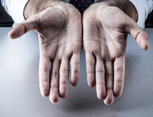 businessman opened empty palms for symbol of generosity, bargain, presentation
