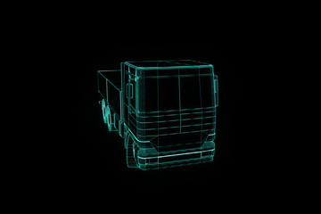 Transport Car in Hologram Wireframe Style. Nice 3D Rendering